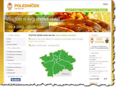 Poledníček.cz - polední menu online na Webu