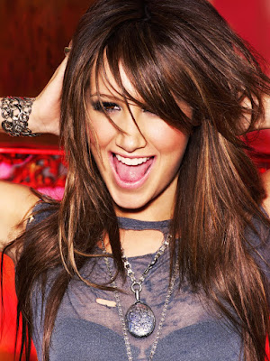 Ashley Tisdale,Gorgeous Colorful Lighting Effect Portrai