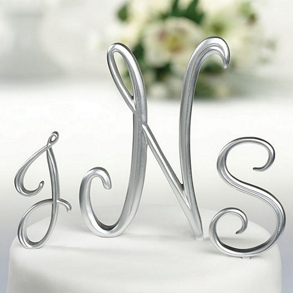 gold monogram wedding cake toppers