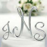 Silver Monogram Letter Cake Picks