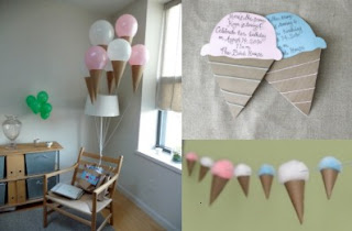ice cream cone balloons, garland, invitations
