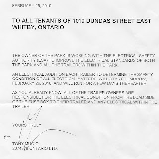 1010 Dundas St E Trailer Park Whitby ON: Notice Received from ...