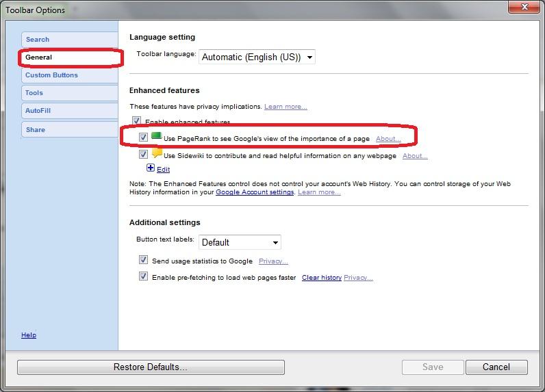 how to show google toolbar