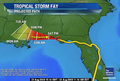 Weather map; TS Fay