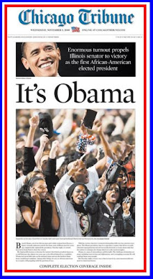 Front page, Chicago Tribune, November 5, 2008