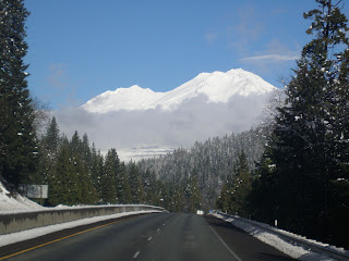 beautiful Mount Shasta covered with fresh snow seen from I-5 close to Dunsmuir