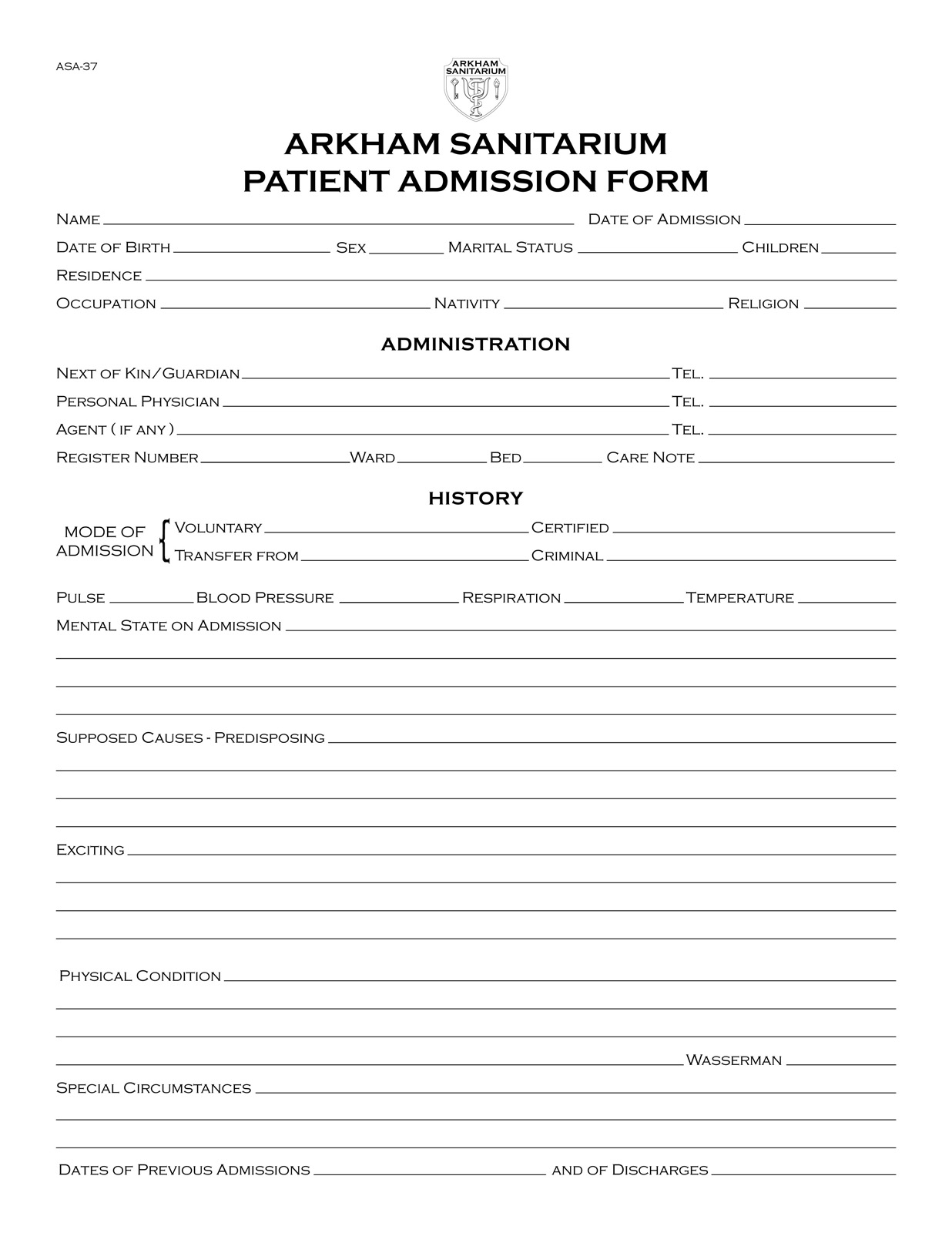 Propnomicon: Arkham Sanitarium Patient Admission Form