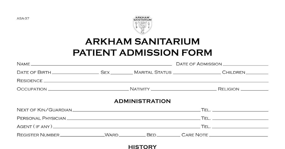 Propnomicon: Arkham Sanitarium Patient Admission Form
