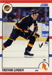 Trevor Linden, Score, 90-91, Vancouver Canucks, hockey card