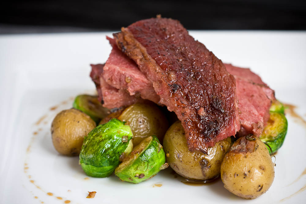 Guinness Corned Beef, Brussels Sprouts, Creamer Potatoes