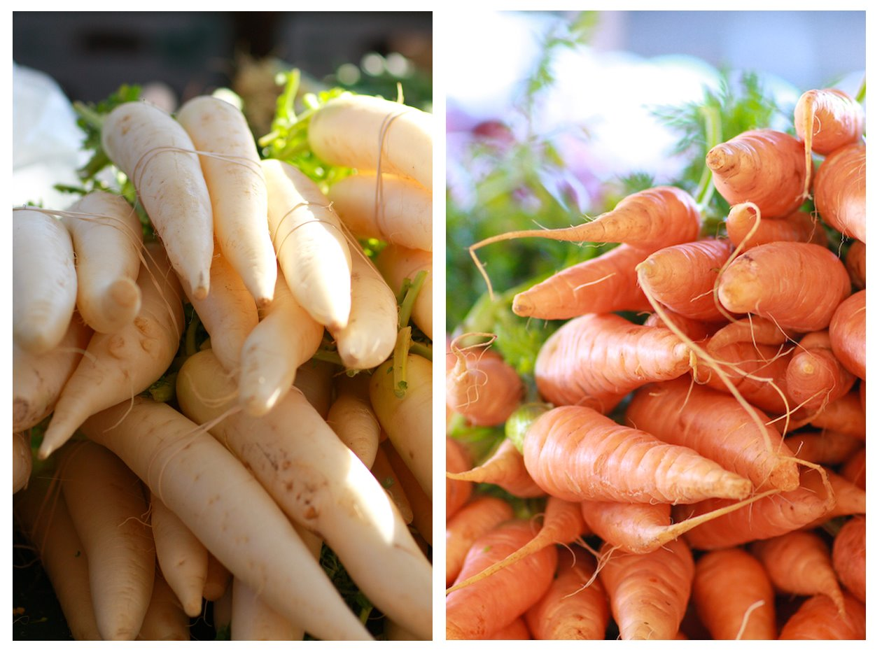 Sacramento Farmers Market Daikon, Carrots
