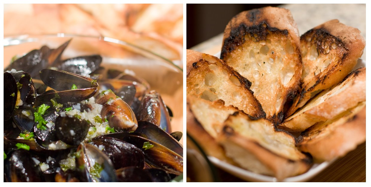 Mussels, Grilled Bread