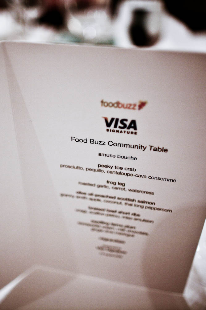 TRU Restaurant, Foodbuzz Community Table