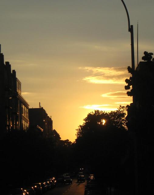 Street scene in Brooklyn with sunset