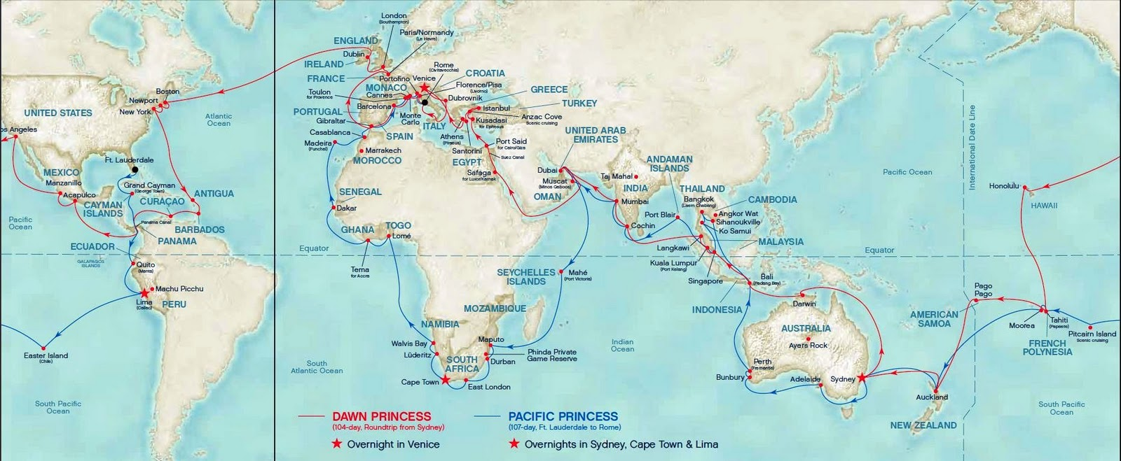 World Cruise 2011 Cruise Map