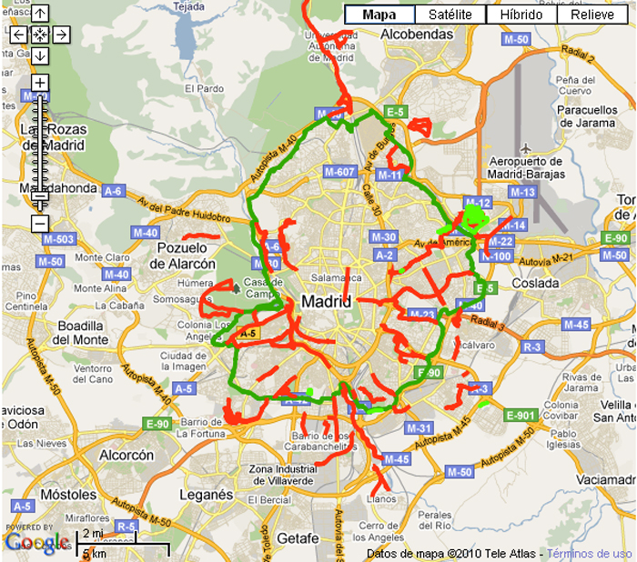 nosolometro Carriles bici por el centro de Madrid