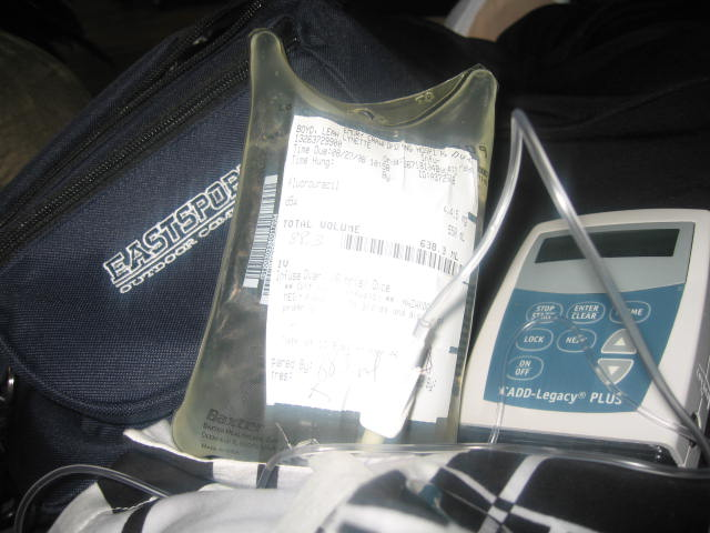 My fanny pack, chemo bag and pump