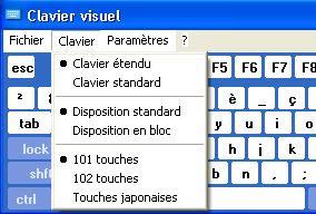 Réglage de clavier visuel Windows XP