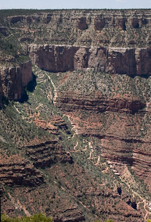 Click for Larger Image of the Beginning of Bright Angel Trail, showing switchbacks. At the bottom, the trail will continue to Plateau Point (see next image). This is the trail both hikers and mule riders descend.