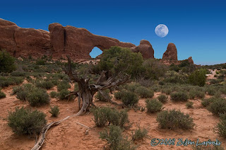 Click for Larger Image of Moon Over Arch