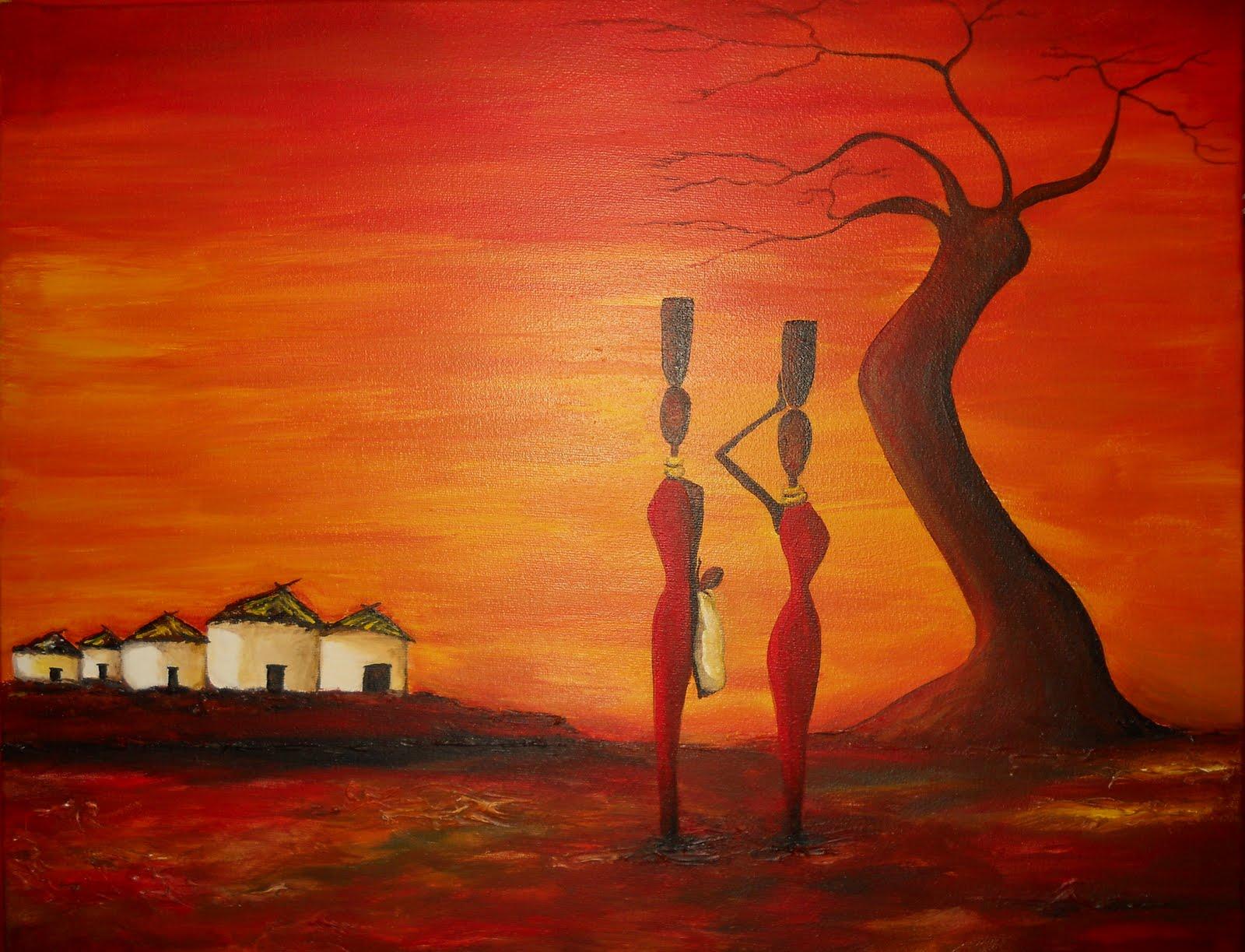 Mis pinturas: Chozas africanas