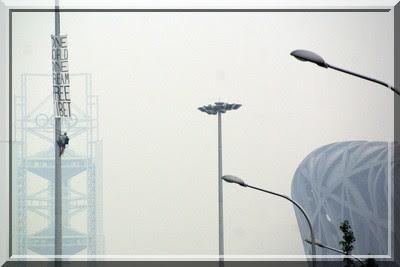 Beijing, Peking, The Bird´s Nest, Prostest, Free Tibet, Nest, Vogelnest, Stadion, China, Freies Tibet