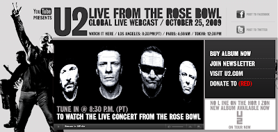 Youtwo (U2) live on Youtube from the Rose Bowl, Video, Musik, Musikvideo, Live-Webcam, Klatsch, Internet, Google, Cult on You Tube,