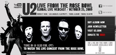 Youtwo (U2) live on Youtube from the Rose Bowl, Video, Musik, Musikvideo, Live-Webcam, Klatsch, Internet, Google, Cult on You Tube,
