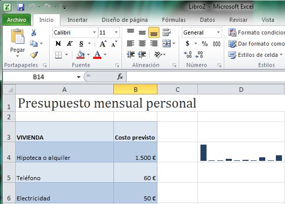 mini gráficos o Sparklines Excel 2010 captura novedades