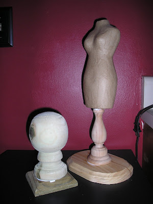 Glue the wood bases together and the papermache bust on top