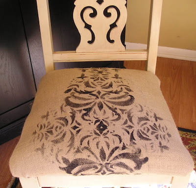 Stenciled burlap chair