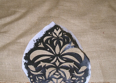 Stenciling on burlap