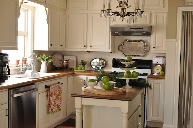 Wood countertops white kitchen