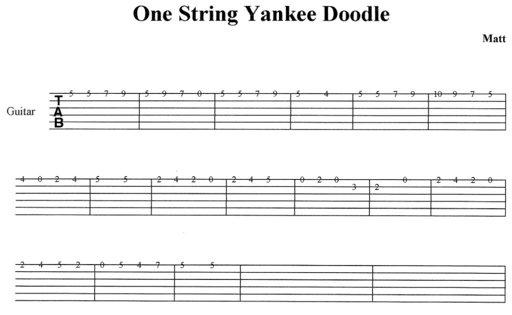 Adventures in Classroom Guitar Instruction: One-String Yankee Doodle