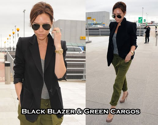 green cargo pants and classic black blazers. Victoria Beckham hit it out