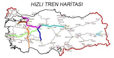 Türkiye Hızlı ve Anahat Tren Yolları Haritası