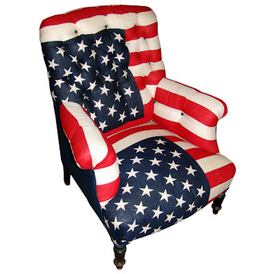 A Napoleon III Bergere Upholstered In Vintage American Flags