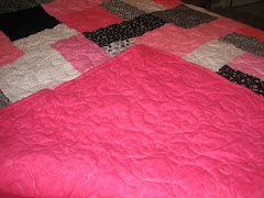 Pink, black & white quilt