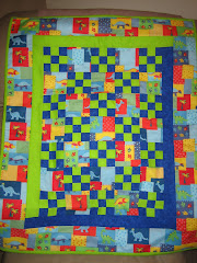 Baby Quilt - Dinosaurs w/accents of vibrant blue & green