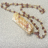 Honeycomb Calcite Wire-wrapped Pendant View 2