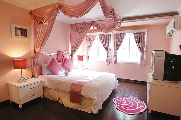 Bedroom of Hello Kitty Hotel, Hsinchu, Taiwan