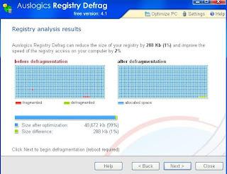 AusLogics Registry Defrag : Registry Scan Report