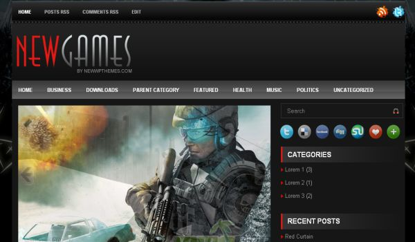 New Games Black Blogger Template