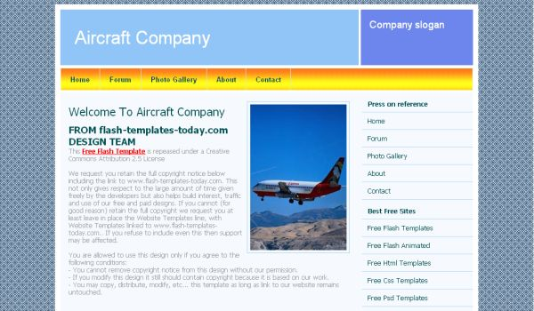 Air Lines Blue CSS Website Template