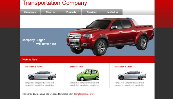 Transportation Company Web Template Design
