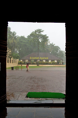 Downpour outside as visible from the Dom Basilica in Goa