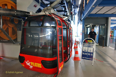 A panoramic gondola, at the starting point of the journey to Mount Pilatus from Lucerne