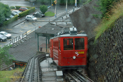 Photo shows the steep climb that the train takes to reach Mount Pilatus from Alpnachstad