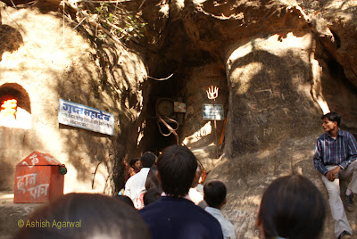 People crowding the entrance to Gupta Mahadev in Pachmarhi