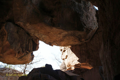Caves at Bhimbetka form natural shelters in which pre-historic man could survive
